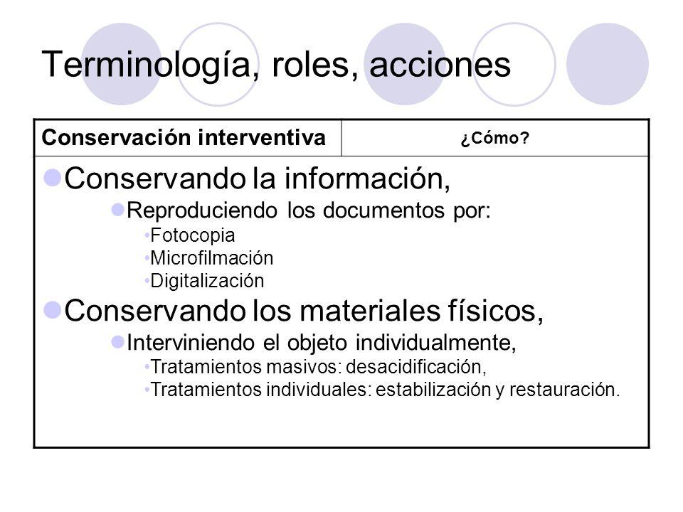 Terminología, roles, acciones Conservación interventiva ¿Cómo? Conservando la información, Reproduciendo los documentos por: Fotocopia Microfilmación