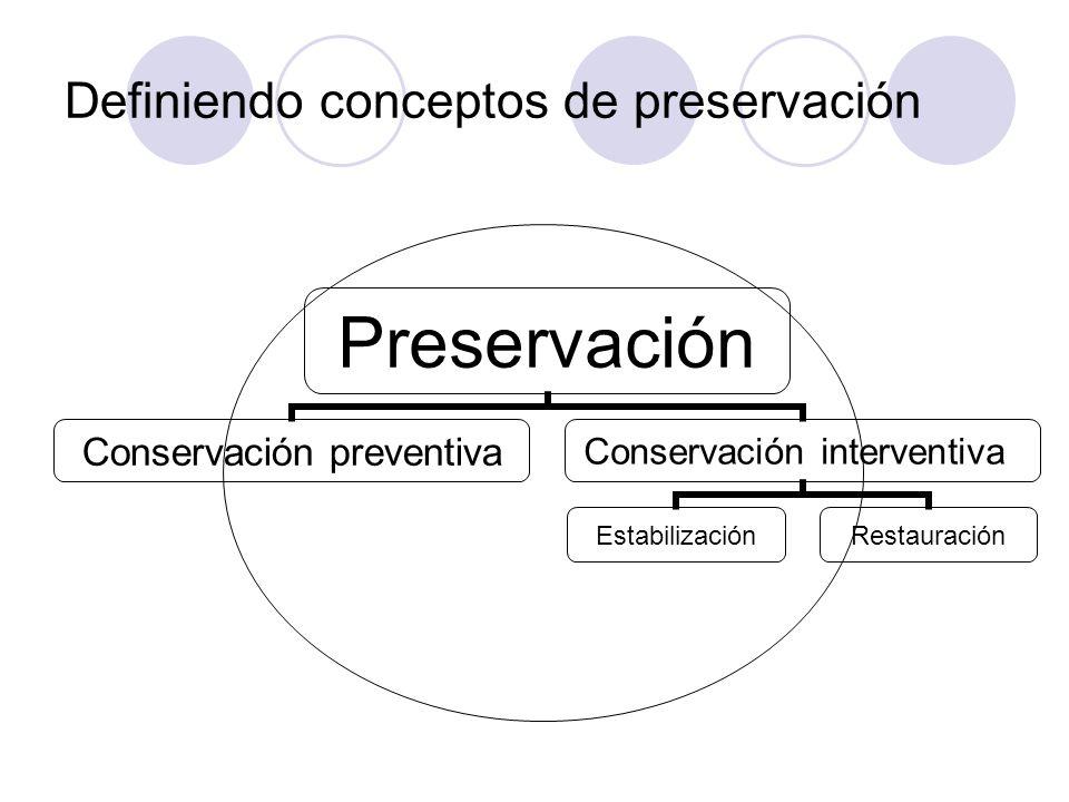 Definiendo conceptos de preservación Preservación Conservación preventiva Conservación interventiva EstabilizaciónRestauración