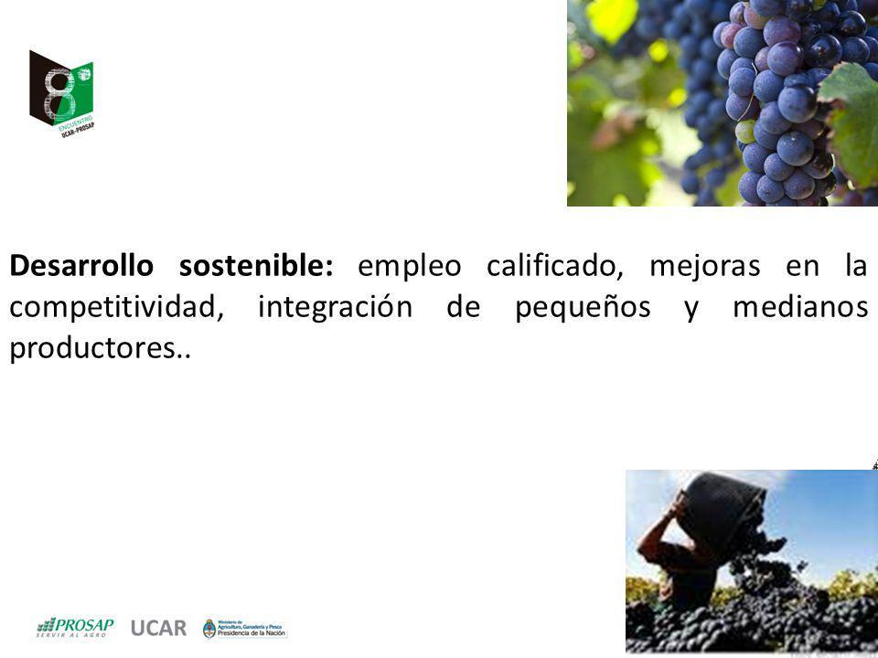 Desarrollo sostenible: empleo calificado, mejoras en la competitividad, integración de pequeños y medianos productores..