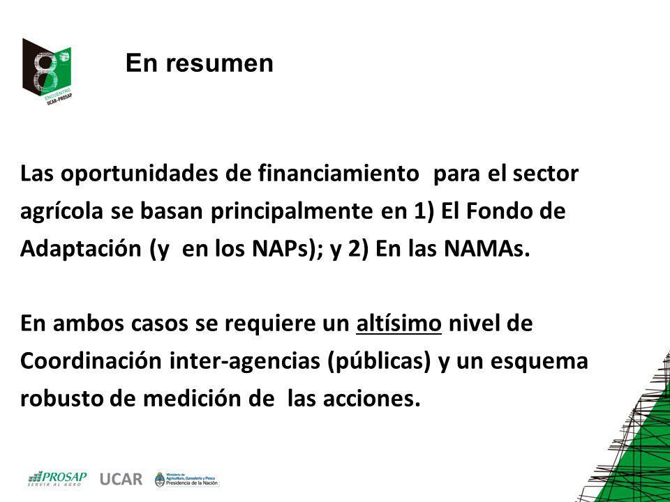 En resumen Las oportunidades de financiamiento para el sector agrícola se basan principalmente en 1) El Fondo de Adaptación (y en los NAPs); y 2) En las NAMAs.