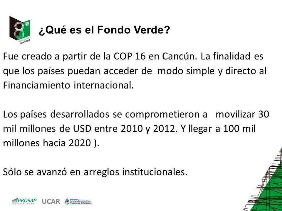 ¿Qué es el Fondo Verde? Fue creado a partir de la COP 16 en Cancún. La finalidad es que los países puedan acceder de modo simple y directo al Financia
