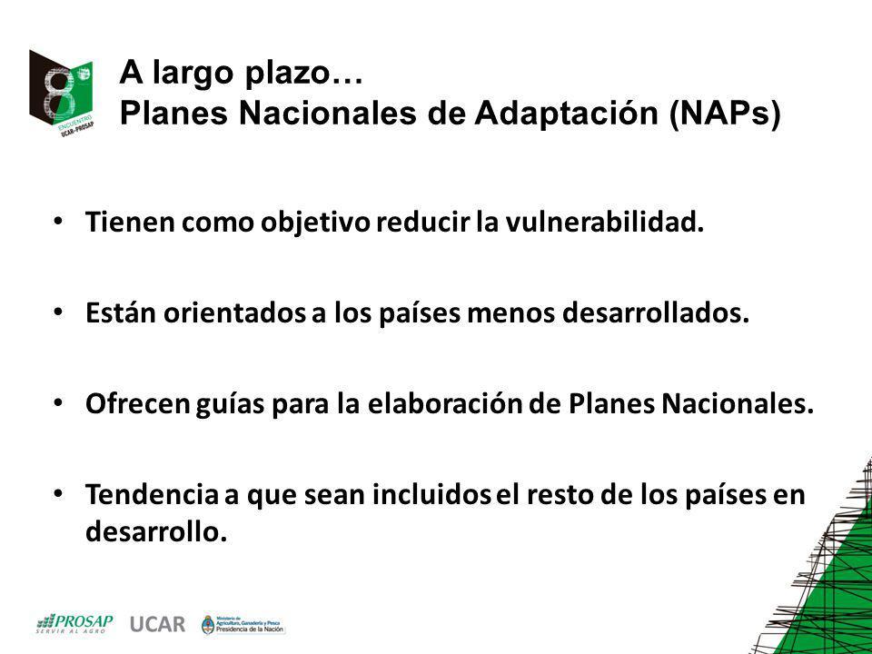 A largo plazo… Planes Nacionales de Adaptación (NAPs) Tienen como objetivo reducir la vulnerabilidad. Están orientados a los países menos desarrollado