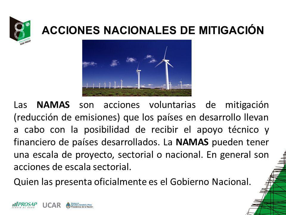 ACCIONES NACIONALES DE MITIGACIÓN Las NAMAS son acciones voluntarias de mitigación (reducción de emisiones) que los países en desarrollo llevan a cabo con la posibilidad de recibir el apoyo técnico y financiero de países desarrollados.