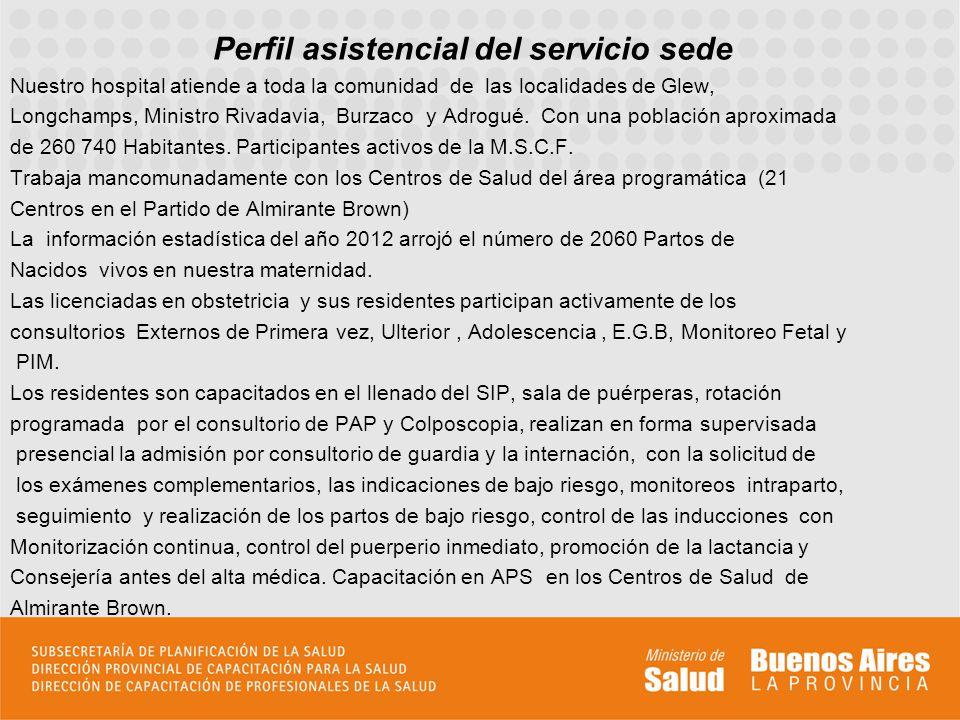Perfil asistencial del servicio sede Nuestro hospital atiende a toda la comunidad de las localidades de Glew, Longchamps, Ministro Rivadavia, Burzaco