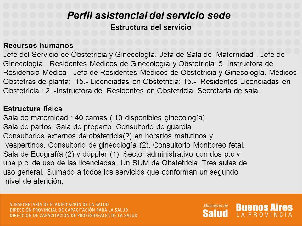 Perfil asistencial del servicio sede Estructura del servicio Recursos humanos Jefe del Servicio de Obstetricia y Ginecología. Jefa de Sala de Maternid