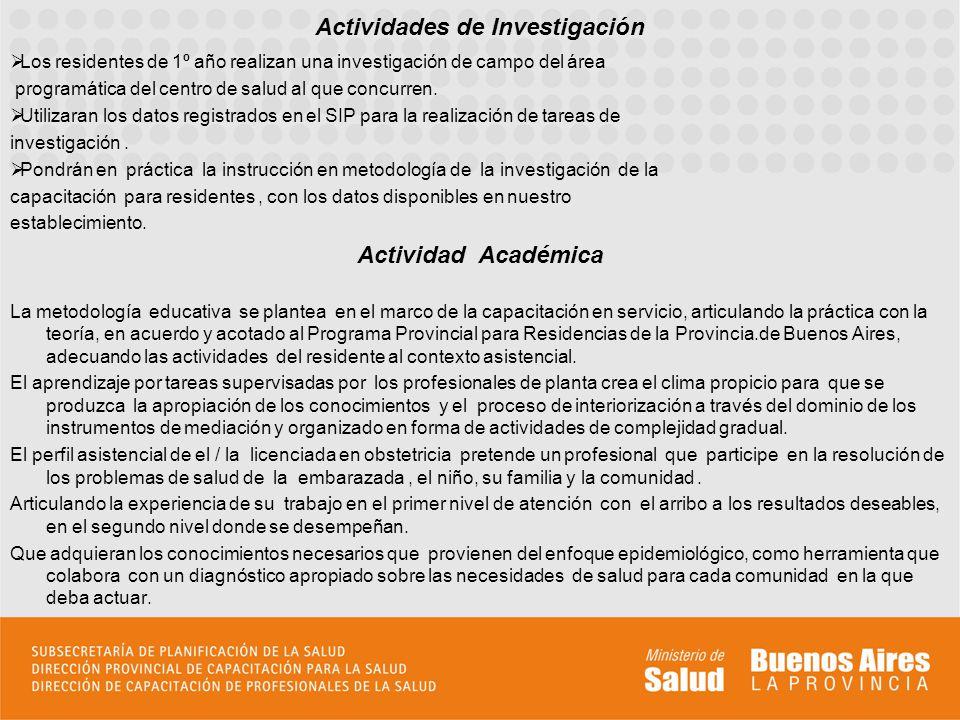 Residentes de primero y segundo año en el XIII Congreso Internacional de la Sociedad de Obstetricia y Ginecología de la Provincia de Buenos Aires Residente de segundo año durante una clase en una escuela de Almirante Brown.