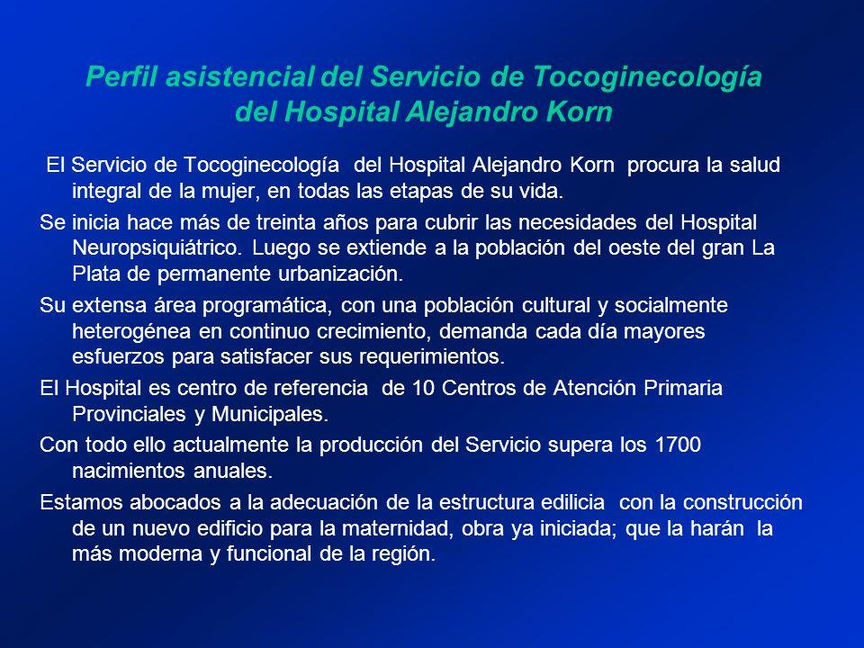 Perfil asistencial del Servicio de Tocoginecología del Hospital Alejandro Korn El Servicio de Tocoginecología del Hospital Alejandro Korn procura la s