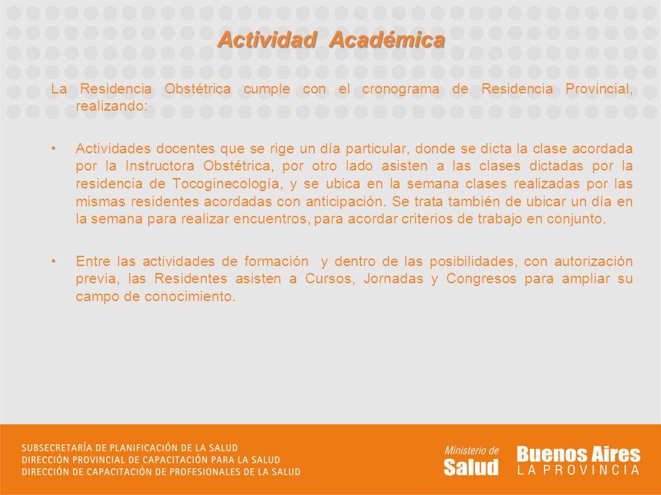 Actividad Académica La Residencia Obstétrica cumple con el cronograma de Residencia Provincial, realizando: Actividades docentes que se rige un día pa