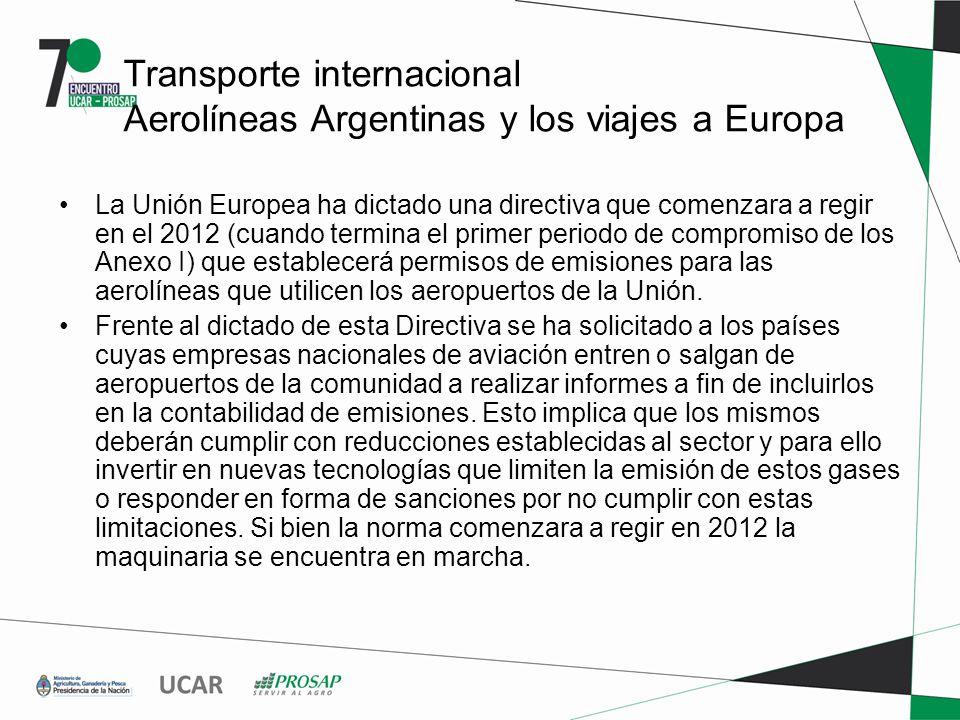 Transporte internacional Aerolíneas Argentinas y los viajes a Europa La Unión Europea ha dictado una directiva que comenzara a regir en el 2012 (cuando termina el primer periodo de compromiso de los Anexo I) que establecerá permisos de emisiones para las aerolíneas que utilicen los aeropuertos de la Unión.