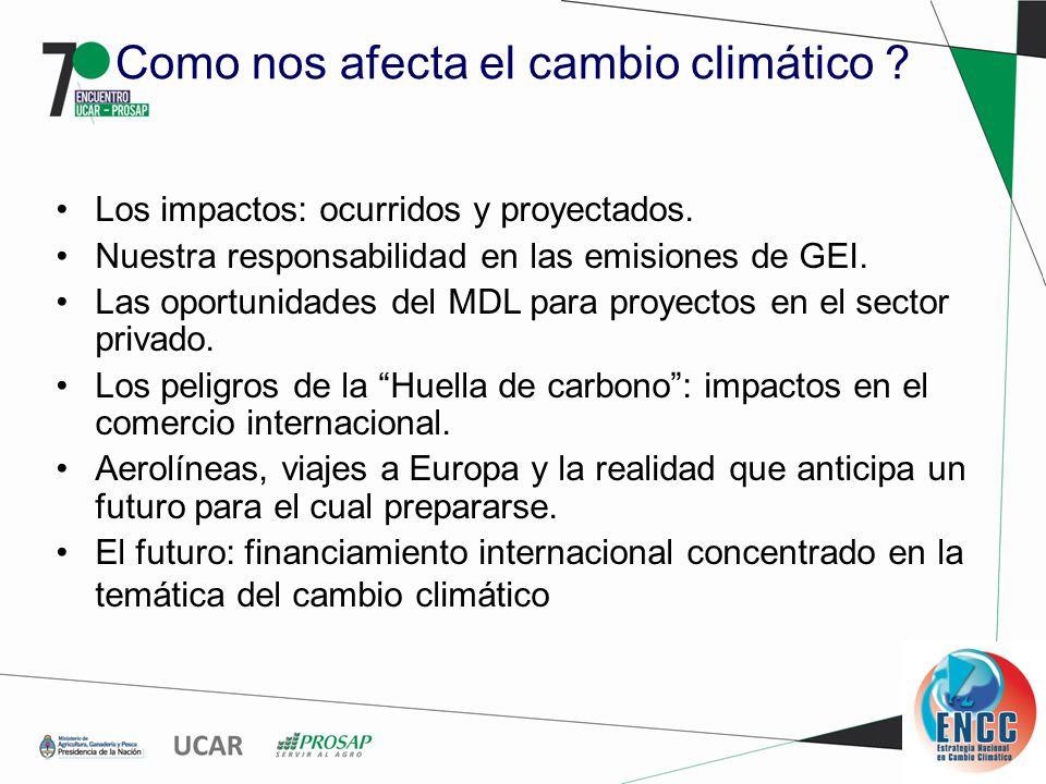 Como nos afecta el cambio climático . Los impactos: ocurridos y proyectados.