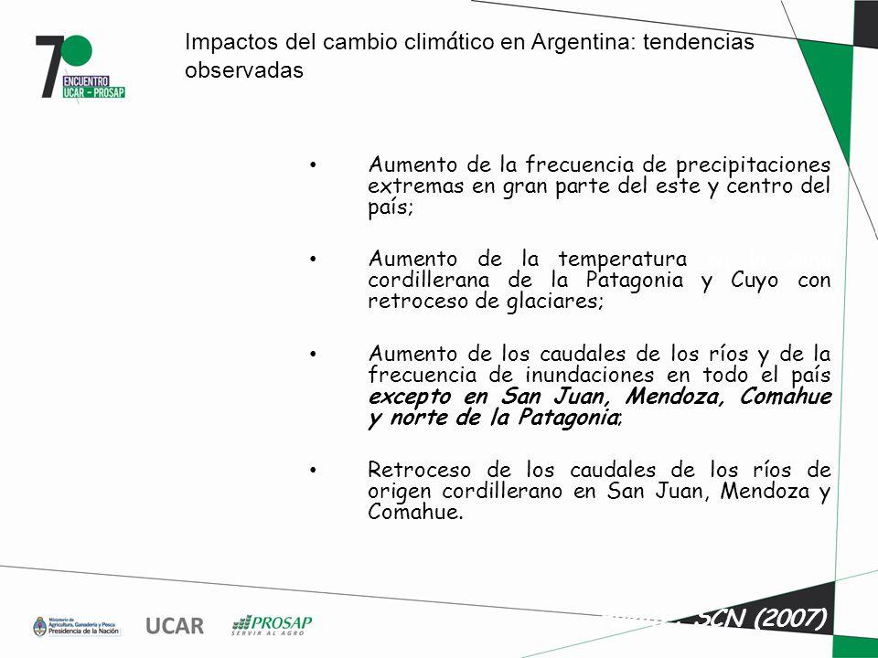 Impactos del cambio clim á tico en Argentina: tendencias observadas Aumento de la frecuencia de precipitaciones extremas en gran parte del este y centro del país; Aumento de la temperatura en la zona cordillerana de la Patagonia y Cuyo con retroceso de glaciares; Aumento de los caudales de los ríos y de la frecuencia de inundaciones en todo el país excepto en San Juan, Mendoza, Comahue y norte de la Patagonia; Retroceso de los caudales de los ríos de origen cordillerano en San Juan, Mendoza y Comahue.
