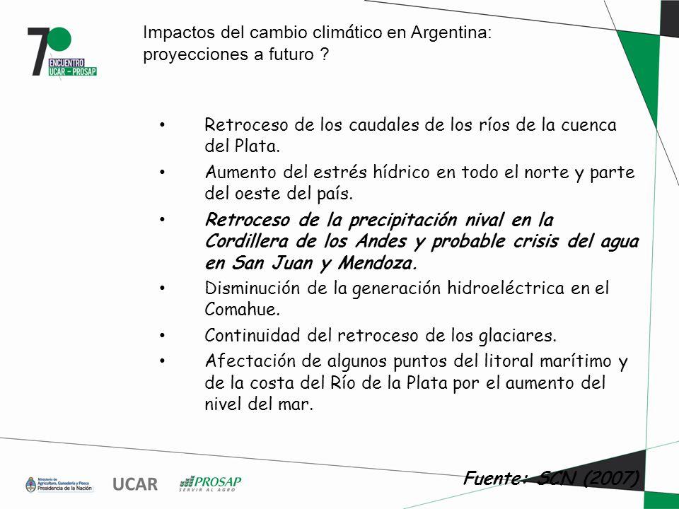 Impactos del cambio clim á tico en Argentina: proyecciones a futuro .