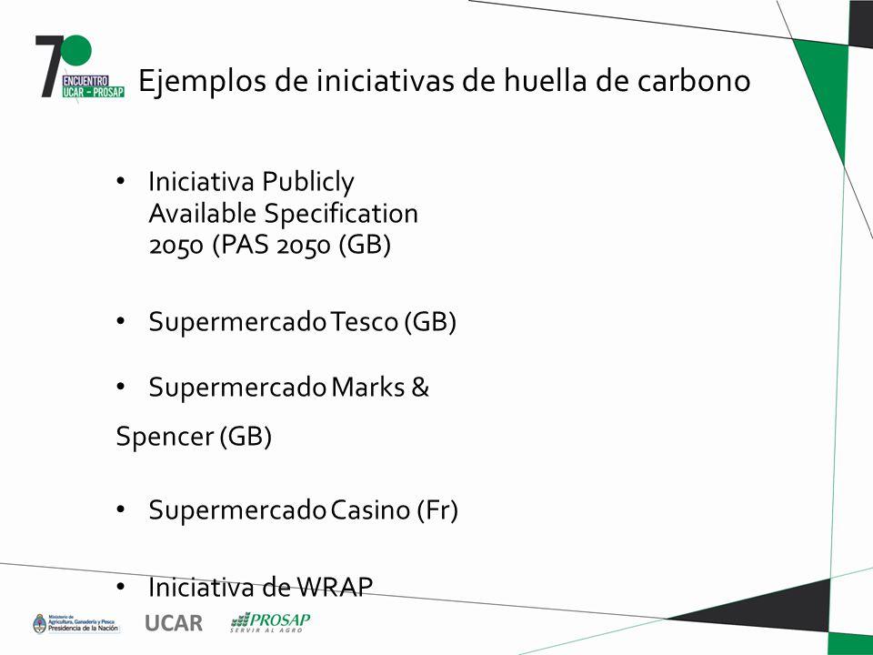 Ejemplos de iniciativas de huella de carbono Iniciativa Publicly Available Specification 2050 (PAS 2050 (GB) Supermercado Tesco (GB) Supermercado Marks & Spencer (GB) Supermercado Casino (Fr) Iniciativa de WRAP