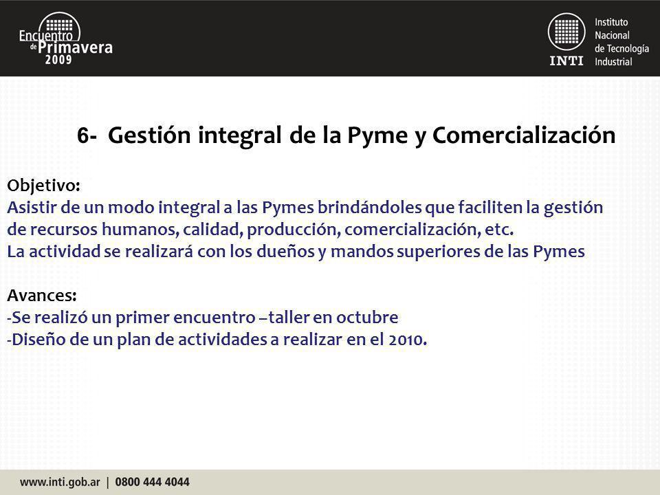 6- Gestión integral de la Pyme y Comercialización Objetivo: Asistir de un modo integral a las Pymes brindándoles que faciliten la gestión de recursos