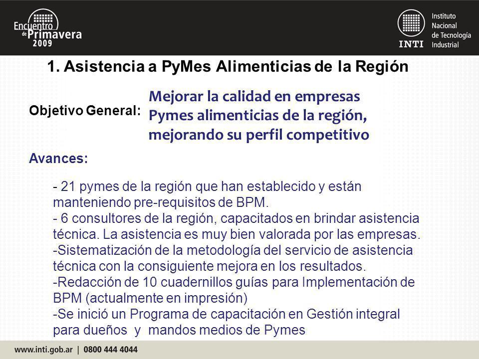 1. Asistencia a PyMes Alimenticias de la Región Objetivo General: Avances: Mejorar la calidad en empresas Pymes alimenticias de la región, mejorando s