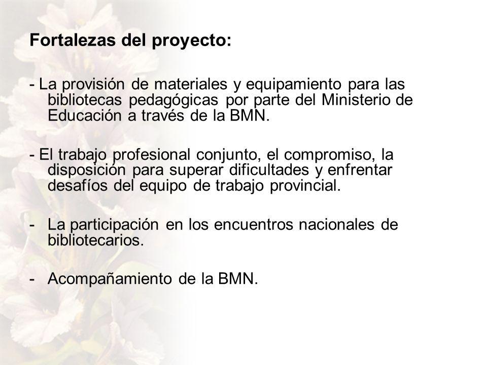 Fortalezas del proyecto: - La provisión de materiales y equipamiento para las bibliotecas pedagógicas por parte del Ministerio de Educación a través de la BMN.
