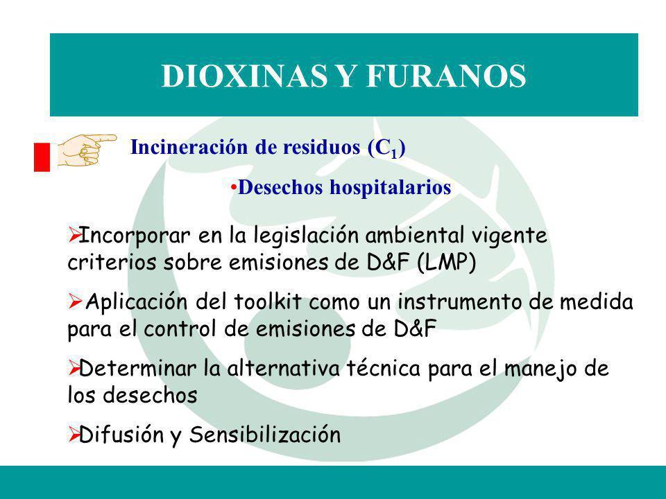 DIOXINAS Y FURANOS Incineración de residuos (C 1 ) Desechos hospitalarios Incorporar en la legislación ambiental vigente criterios sobre emisiones de