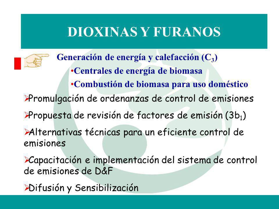 DIOXINAS Y FURANOS Promulgación de ordenanzas de control de emisiones Propuesta de revisión de factores de emisión (3b 1 ) Alternativas técnicas para
