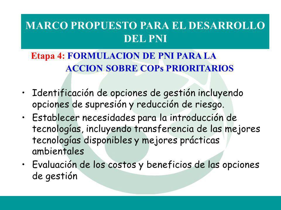 MARCO PROPUESTO PARA EL DESARROLLO DEL PNI Etapa 4: FORMULACION DE PNI PARA LA ACCION SOBRE COPs PRIORITARIOS Identificación de opciones de gestión in