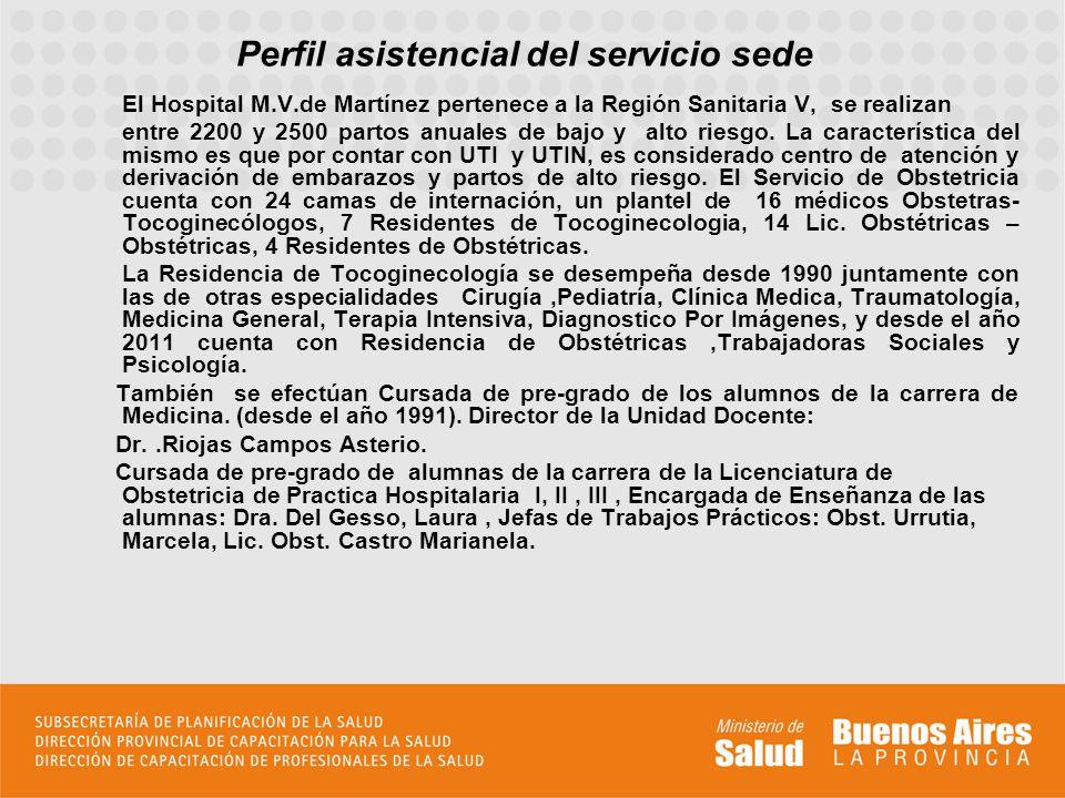 Perfil asistencial del servicio sede El Hospital M.V.de Martínez pertenece a la Región Sanitaria V, se realizan entre 2200 y 2500 partos anuales de bajo y alto riesgo.