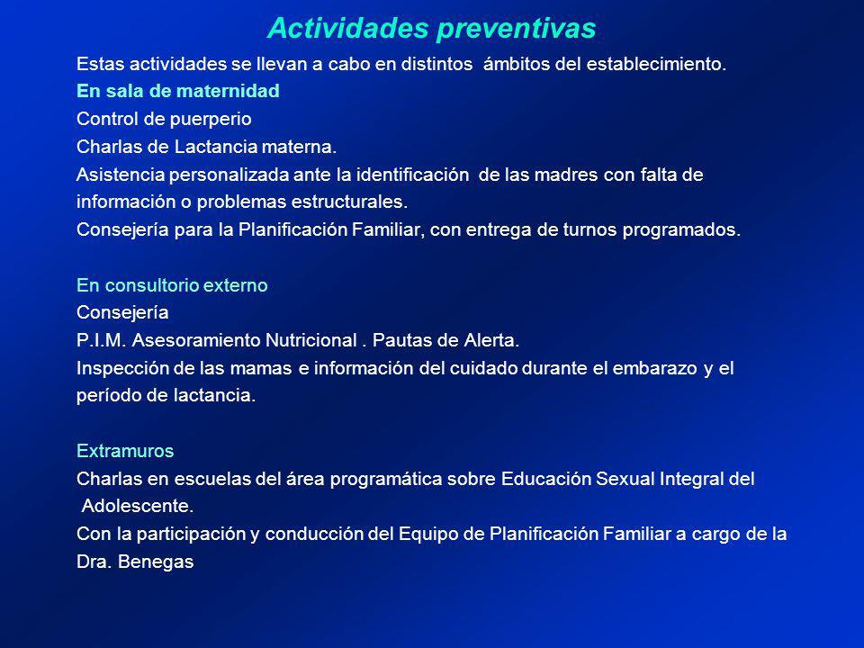 Actividades preventivas Estas actividades se llevan a cabo en distintos ámbitos del establecimiento. En sala de maternidad Control de puerperio Charla
