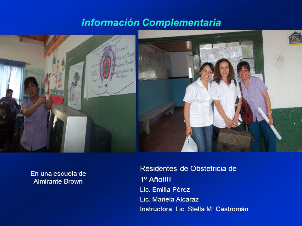 Información Complementaria Residentes de Obstetricia de 1º Año!!!! Lic. Emilia Pérez Lic. Mariela Alcaraz Instructora Lic. Stella M. Castromán En una