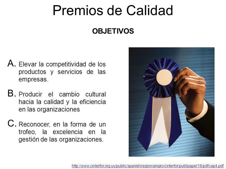 Premios de Calidad A. Elevar la competitividad de los productos y servicios de las empresas. B. Producir el cambio cultural hacia la calidad y la efic