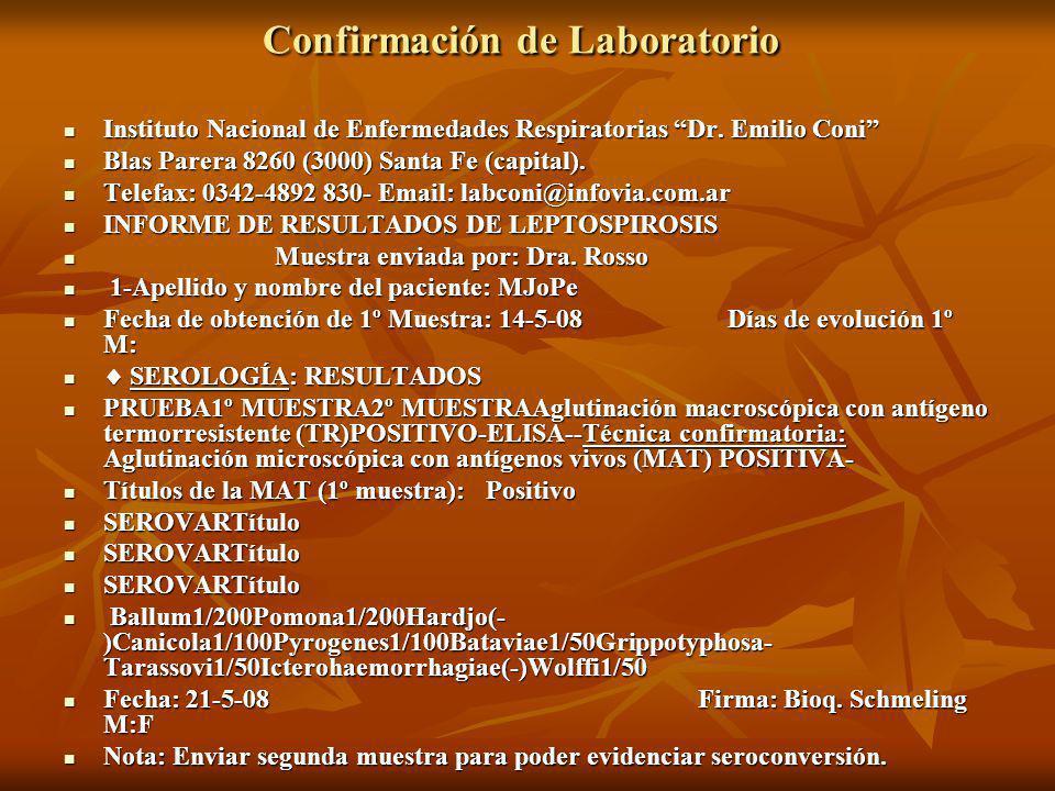 Confirmación de Laboratorio Confirmación de Laboratorio Instituto Nacional de Enfermedades Respiratorias Dr.