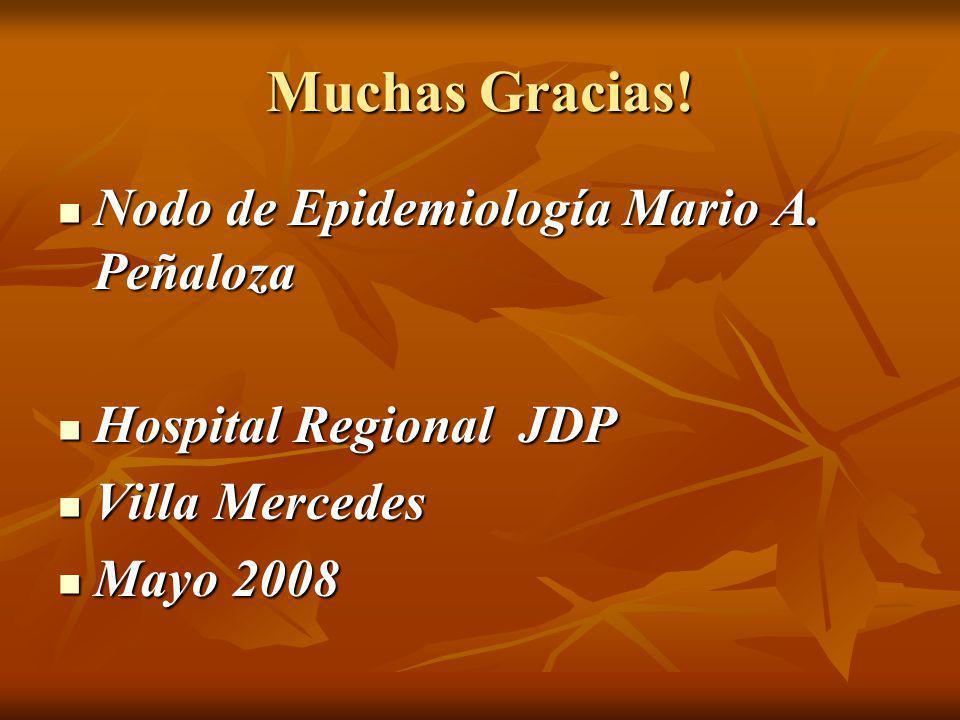 Muchas Gracias! Nodo de Epidemiología Mario A. Peñaloza Nodo de Epidemiología Mario A. Peñaloza Hospital Regional JDP Hospital Regional JDP Villa Merc