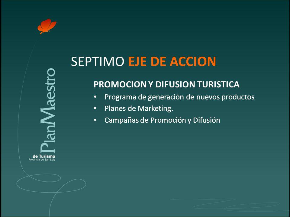 SEPTIMO EJE DE ACCION PROMOCION Y DIFUSION TURISTICA Programa de generación de nuevos productos Planes de Marketing.
