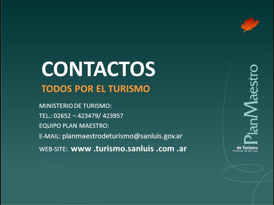 CONTACTOS TODOS POR EL TURISMO MINISTERIO DE TURISMO: TEL.: 02652 – 423479/ 423957 EQUIPO PLAN MAESTRO: E-MAIL: planmaestrodeturismo@sanluis.gov.ar WEB-SITE: www.turismo.sanluis.com.ar