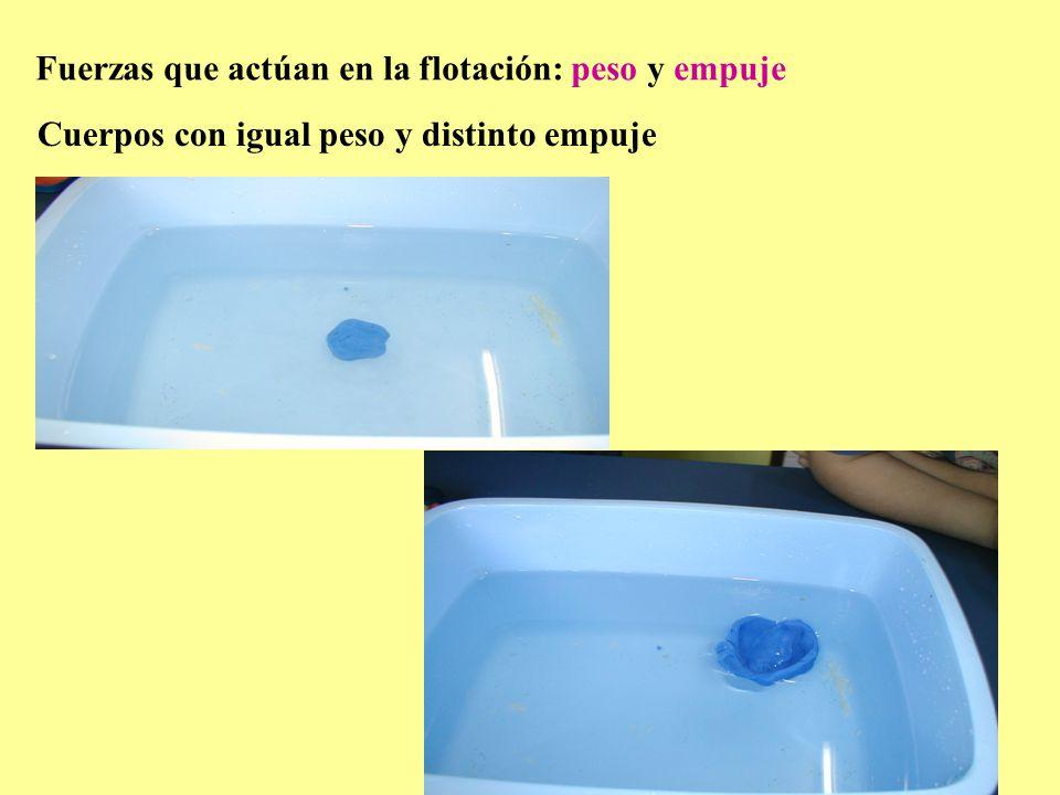 4 Relación del empuje con la forma del cuerpo. Relación del empuje con el agua que desaloja.