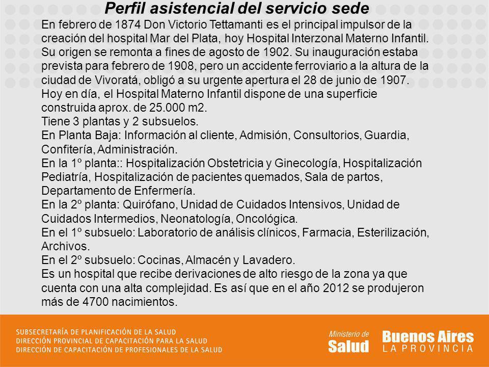 Perfil asistencial del servicio sede En febrero de 1874 Don Victorio Tettamanti es el principal impulsor de la creación del hospital Mar del Plata, ho