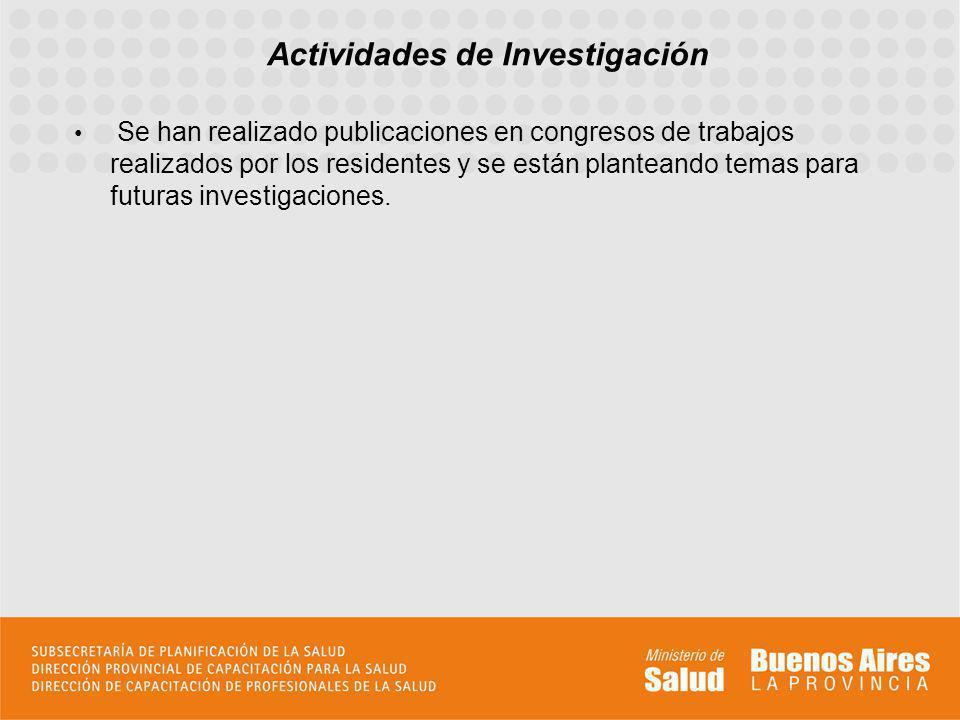 Se han realizado publicaciones en congresos de trabajos realizados por los residentes y se están planteando temas para futuras investigaciones. Activi