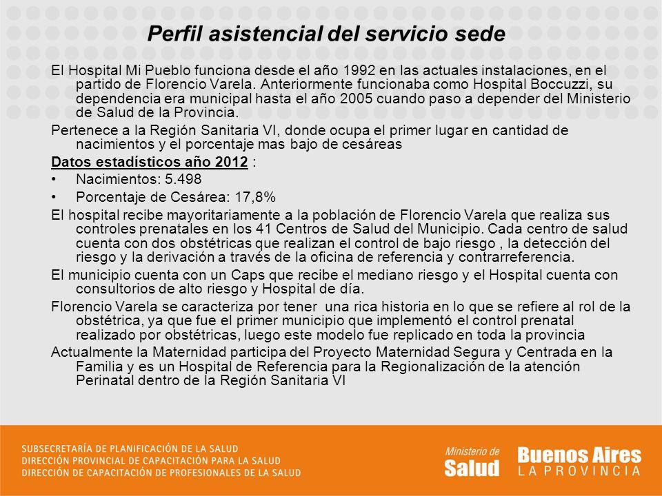 Perfil asistencial del servicio sede El Hospital Mi Pueblo funciona desde el año 1992 en las actuales instalaciones, en el partido de Florencio Varela