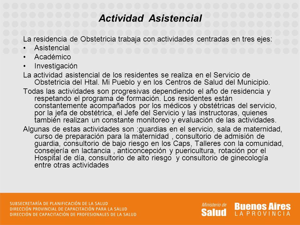 La residencia de Obstetricia trabaja con actividades centradas en tres ejes: Asistencial Académico Investigación La actividad asistencial de los resid
