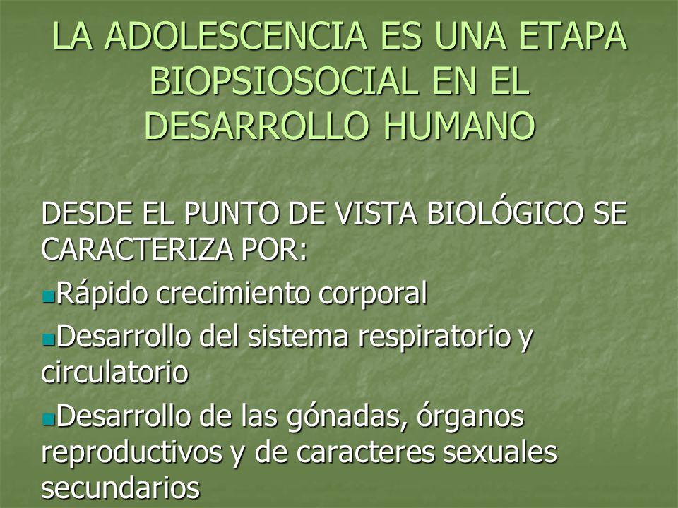 LA ADOLESCENCIA ES UNA ETAPA BIOPSIOSOCIAL EN EL DESARROLLO HUMANO DESDE EL PUNTO DE VISTA BIOLÓGICO SE CARACTERIZA POR: Rápido crecimiento corporal R
