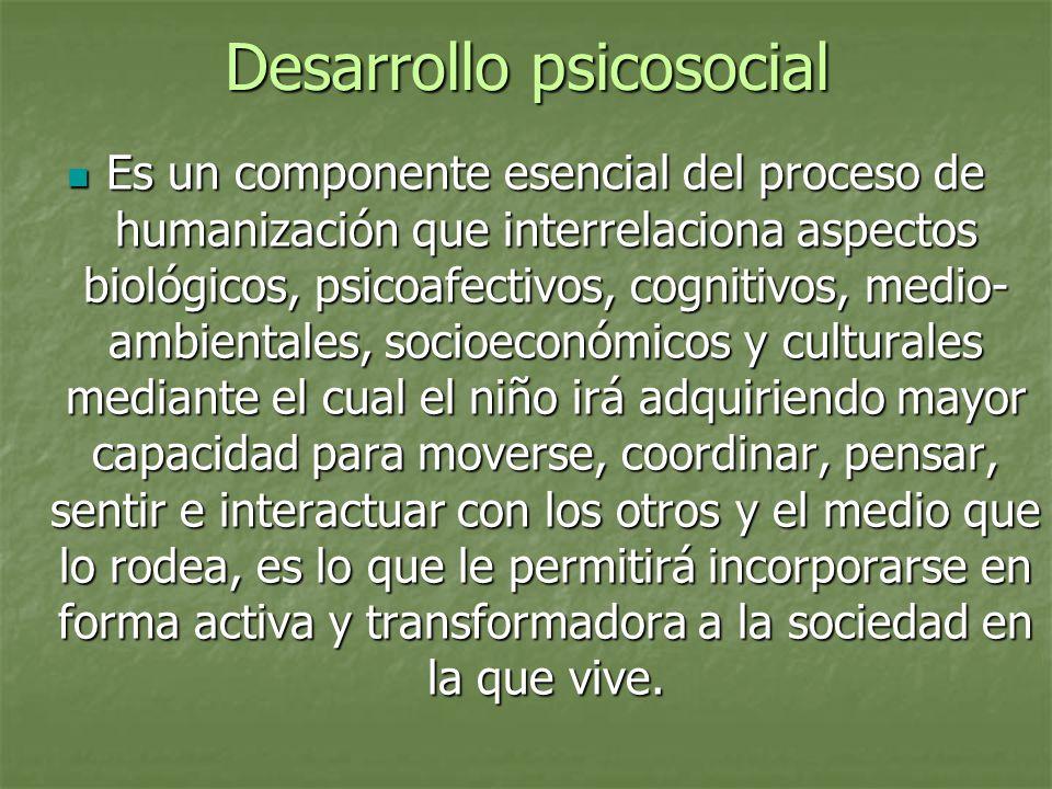 Desarrollo psicosocial Es un componente esencial del proceso de humanización que interrelaciona aspectos biológicos, psicoafectivos, cognitivos, medio