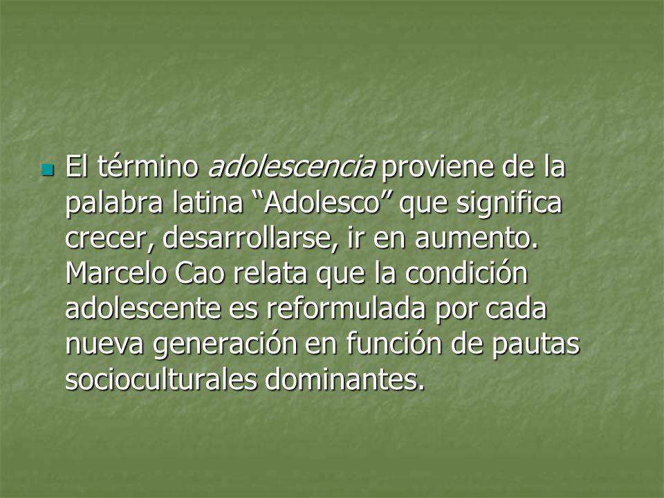 El término adolescencia proviene de la palabra latina Adolesco que significa crecer, desarrollarse, ir en aumento. Marcelo Cao relata que la condición