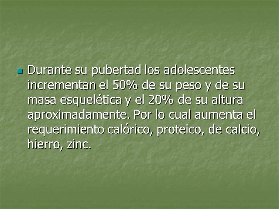 Durante su pubertad los adolescentes incrementan el 50% de su peso y de su masa esquelética y el 20% de su altura aproximadamente. Por lo cual aumenta