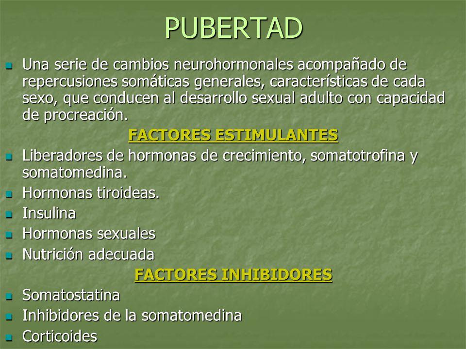 PUBERTAD Una serie de cambios neurohormonales acompañado de repercusiones somáticas generales, características de cada sexo, que conducen al desarroll