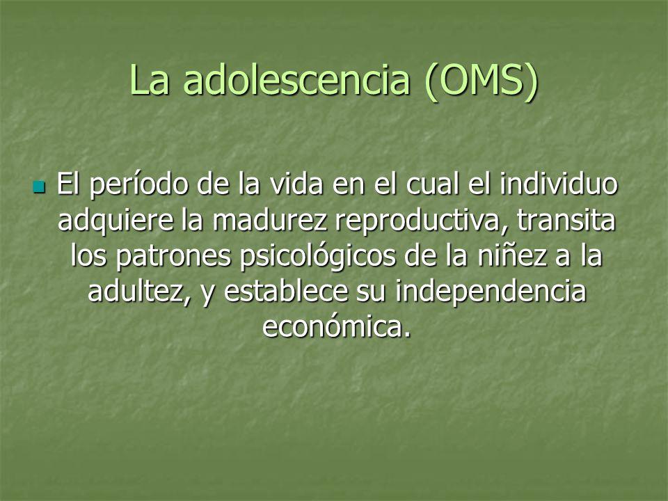 La adolescencia (OMS) El período de la vida en el cual el individuo adquiere la madurez reproductiva, transita los patrones psicológicos de la niñez a