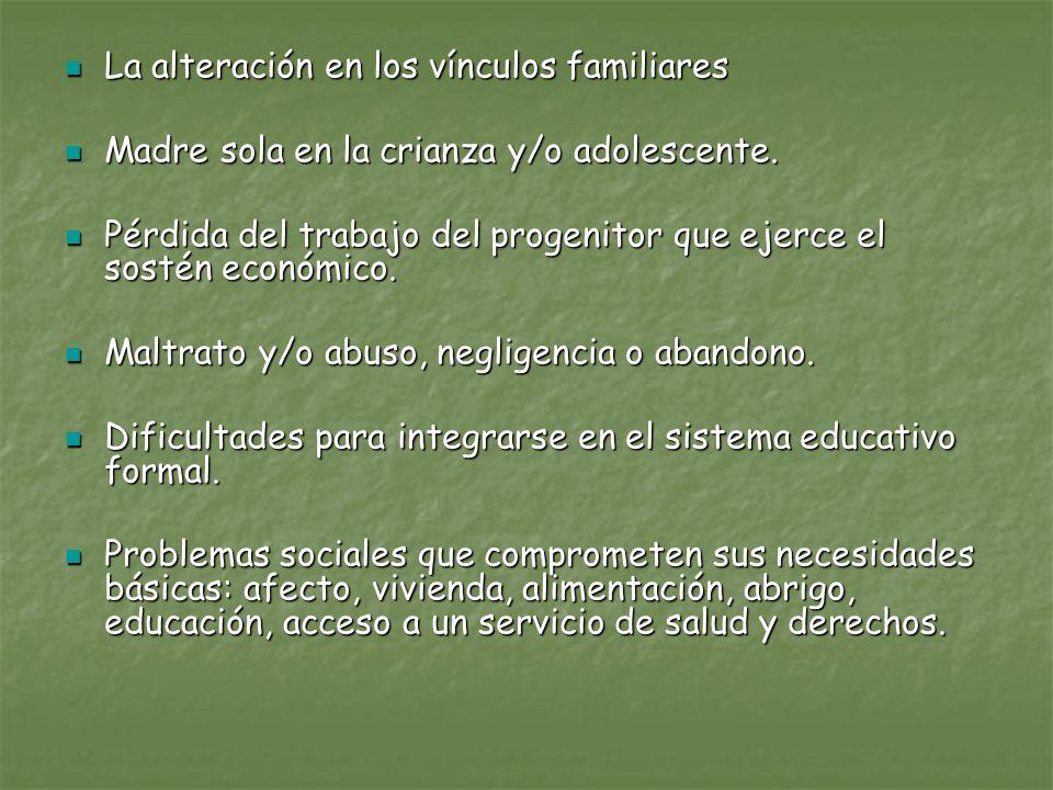 La alteración en los vínculos familiares La alteración en los vínculos familiares Madre sola en la crianza y/o adolescente. Madre sola en la crianza y