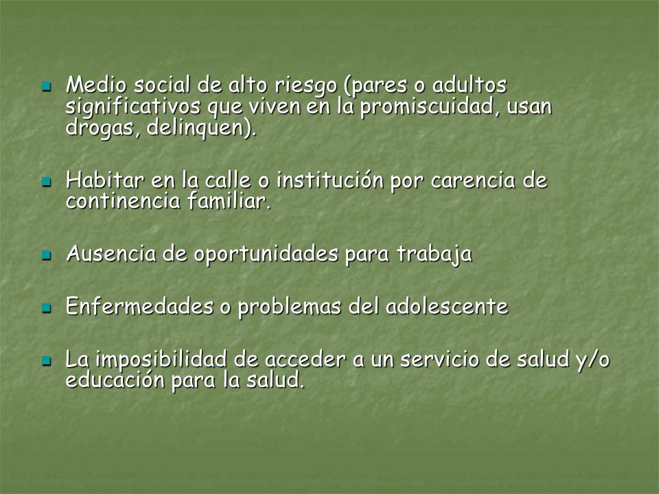 Medio social de alto riesgo (pares o adultos significativos que viven en la promiscuidad, usan drogas, delinquen). Medio social de alto riesgo (pares