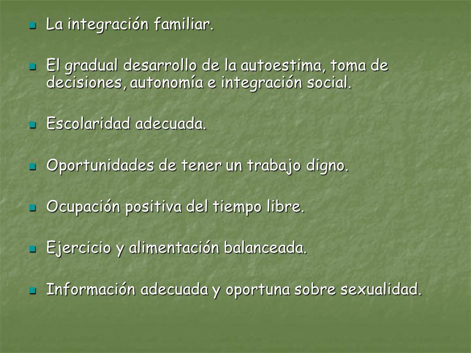 La integración familiar. La integración familiar. El gradual desarrollo de la autoestima, toma de decisiones, autonomía e integración social. El gradu