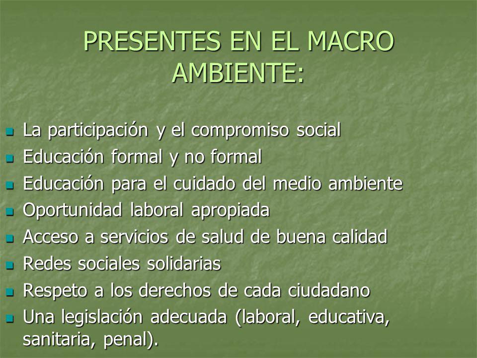 PRESENTES EN EL MACRO AMBIENTE: La participación y el compromiso social La participación y el compromiso social Educación formal y no formal Educación