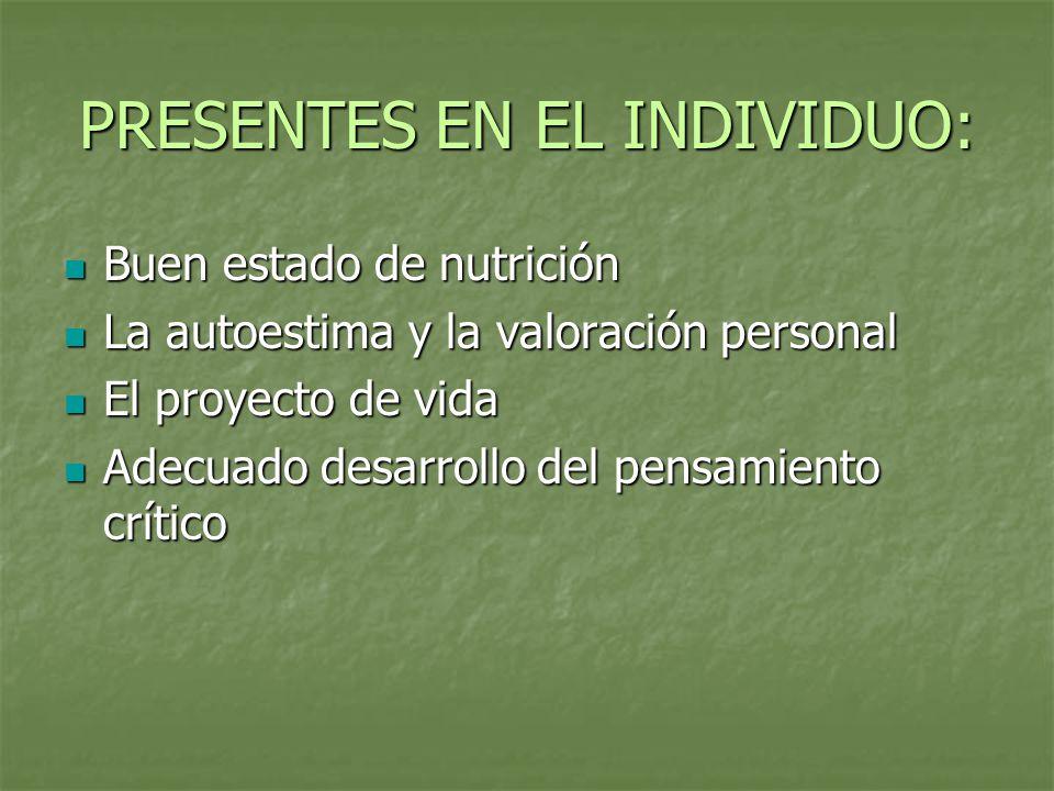 PRESENTES EN EL INDIVIDUO: Buen estado de nutrición Buen estado de nutrición La autoestima y la valoración personal La autoestima y la valoración pers