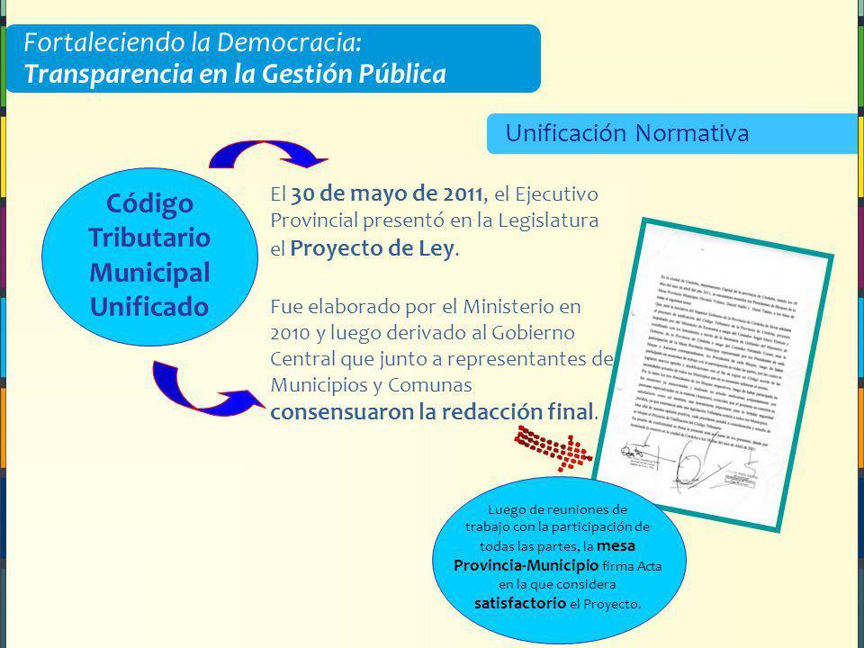 Fortaleciendo la Democracia: Transparencia en la Gestión Pública Unificación Normativa Código Tributario Municipal Unificado El 30 de mayo de 2011, el Ejecutivo Provincial presentó en la Legislatura el Proyecto de Ley.