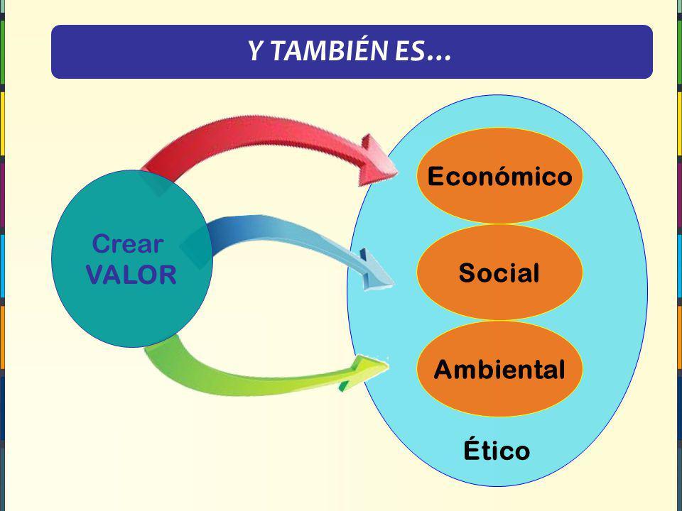 Y TAMBIÉN ES… Ético Económico Social Ambiental Crear VALOR