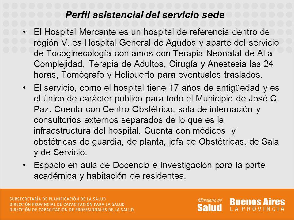 Perfil asistencial del servicio sede El Hospital Mercante es un hospital de referencia dentro de región V, es Hospital General de Agudos y aparte del